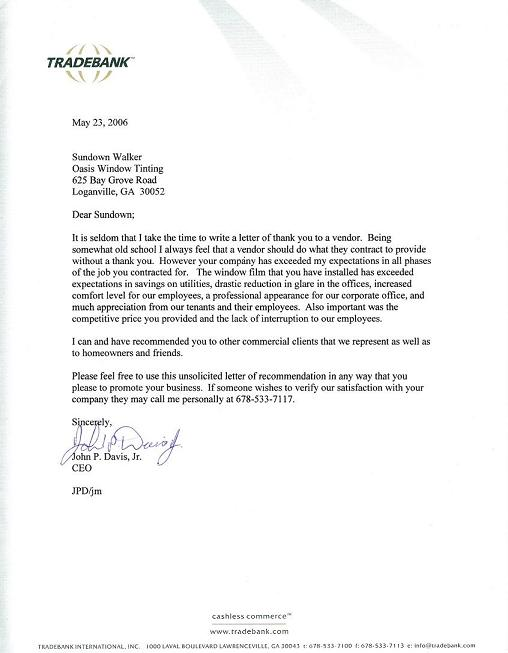 Tradebank Leter of Thanks